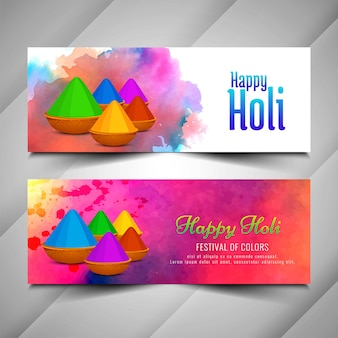 Beautiful holi festival celebration banners set