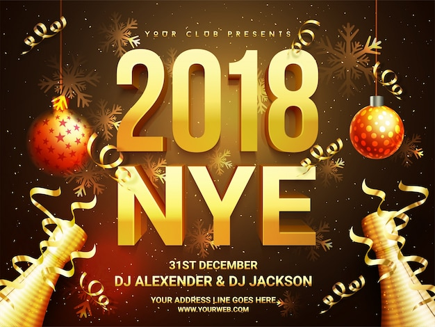 Beautiful holiday background with 3d golden text 2018 nye (new year eve), hanging xmas balls, champagne bottle and snowflakes. creative template, banner, flyer or invitation design.