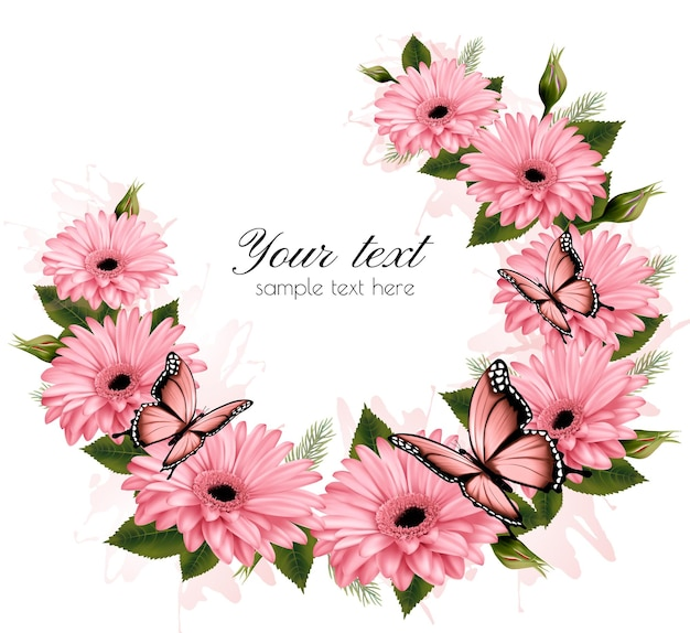 Beautiful holiday card with pink flowers. vector.