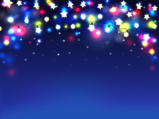 Beautiful holiday illumination realistic background or wallpaper