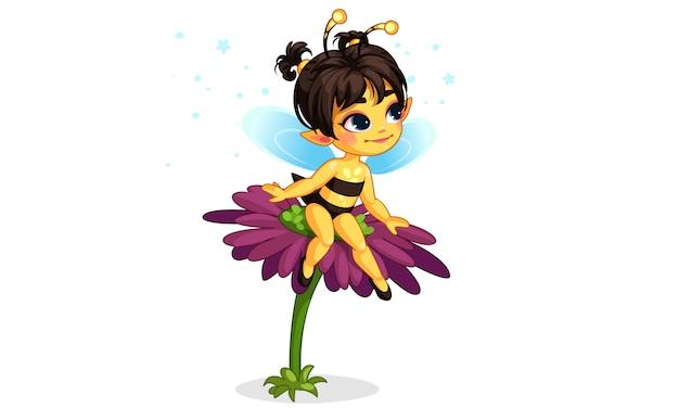 花の上に座って美しいミツバチの妖精