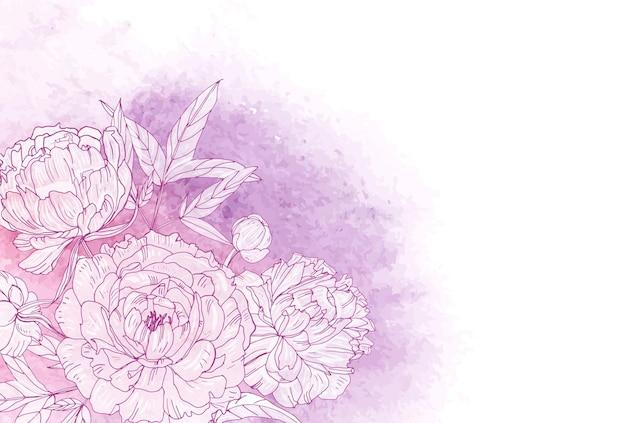 왼쪽 하단 모서리에 피는 분홍색 모란으로 장식된 아름다운 수평 꽃 배경. 배경에 페인트 얼룩에 대 한 화려한 손으로 그린 꽃. 자연 현실적인 벡터 일러스트 레이 션