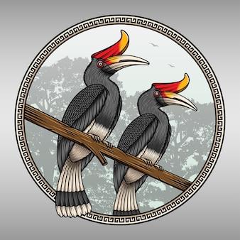 Beautiful hornbill bird on the jungle  illustration