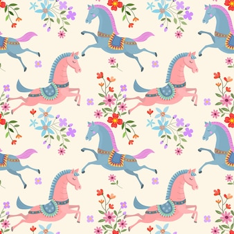 Beautiful horse and flowers seamless pattern