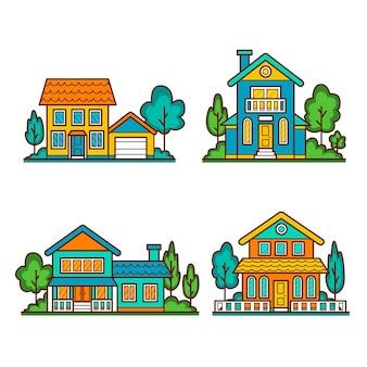 Пакет фасадов красивый дом