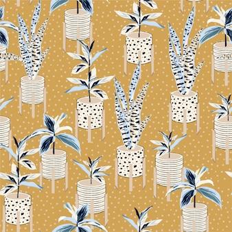 Beautiful house plants hand drawn seamless pattern.