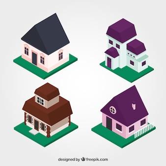 Belle case in stile isometrico