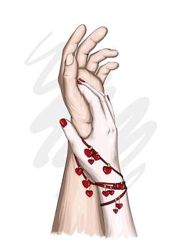 아름다운 인간의 손과 마음 팔찌