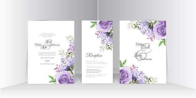 美しいアジサイと紫のバラの水彩結婚式の招待カードセット