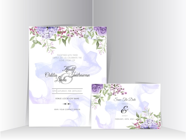 Красивая гортензия и фиолетовые розы акварель свадебные приглашения набор