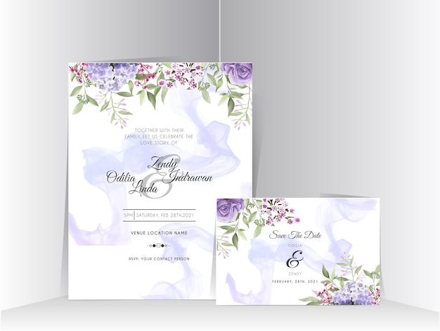 Beautiful hydrangea and purple roses watercolor wedding invitation card set