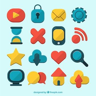 Belle icone di raccolta reti sociali