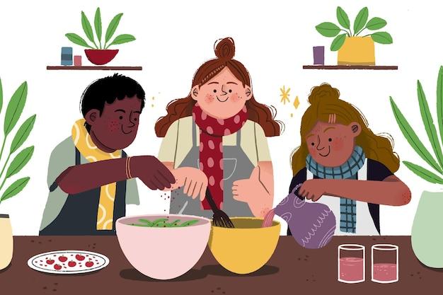 Bella illustrazione dei bambini autunnali che cucinano
