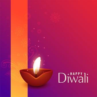 Bella illustrazione di diwali diya bruciante