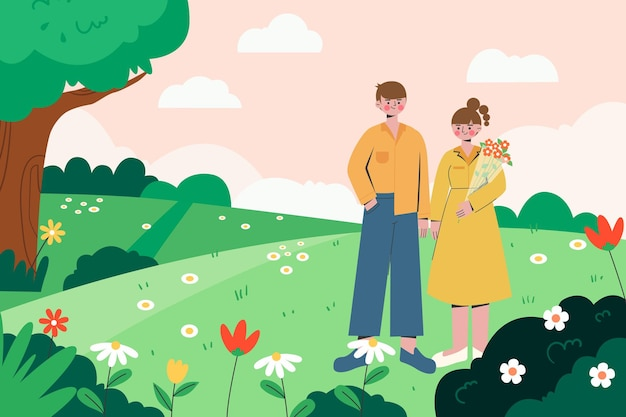 Beautiful illustration of couples outings in spring