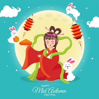 Beautiful illustration of goddess of moon with cute bunny for celebration mid autumn festival.