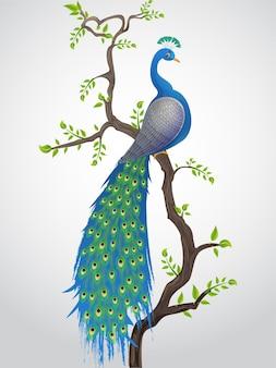 Красивая иллюстрация национальной птицы павлин premium векторы