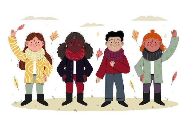 コートやスカーフを身に着けている秋の子供たちの美しいイラスト