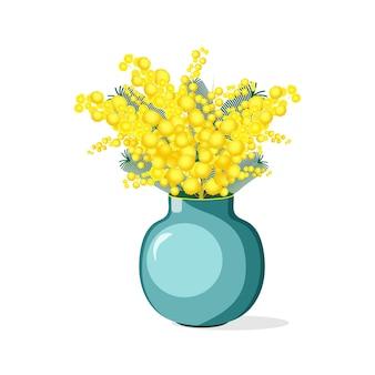Красивая иллюстрация цветов мимоза в фарфоровой вазе на белом фоне