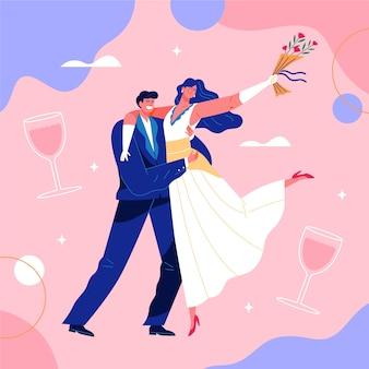結婚式のカップルの美しいイラスト