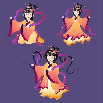 Beautiful illustration of set of three cute chibi characters goddess of moon happy mid autumn festival.