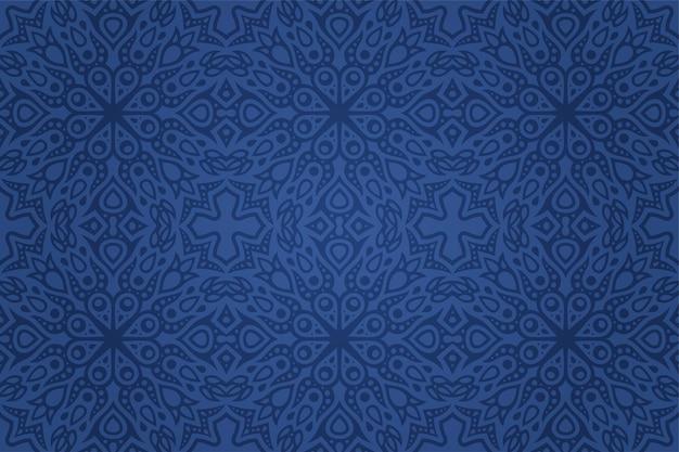 抽象的なカラフルな青い東のタイルのシームレスなパターンと美しいイラスト