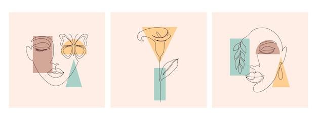 一本の線画スタイルと幾何学的形状の美しいイラスト。美容とファッションのコンセプト。