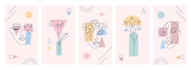 .красивые иллюстрации с одним стилем рисования линии и геометрическими фигурами.