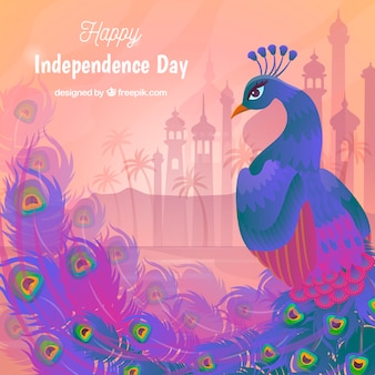 Beautiful india independence day background with peacock