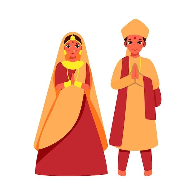 美しいインドのブライダルと彼女の新郎