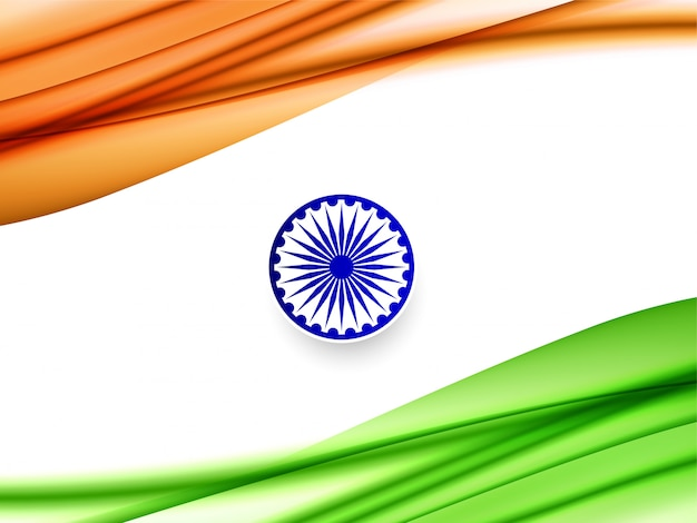 美しいインドの旗のテーマ波状デザイン