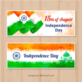 Beautiful indian independence day sale banner in watercolor style