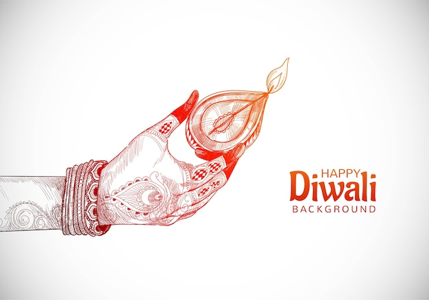Beautiful indian oil lamp for hand holding diwali festival background