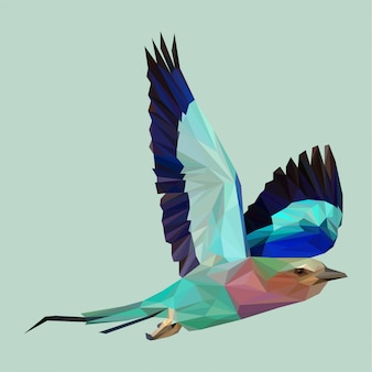 Beautiful indian roller in flight with lowpoly style