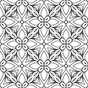 美しいインドの伝統的なシームレスパターン黒と白