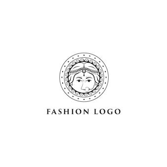 Beautiful indian women logo with circle mandala design vector template.
