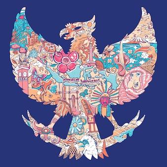Garuda silhoueteの美しいインドネシア
