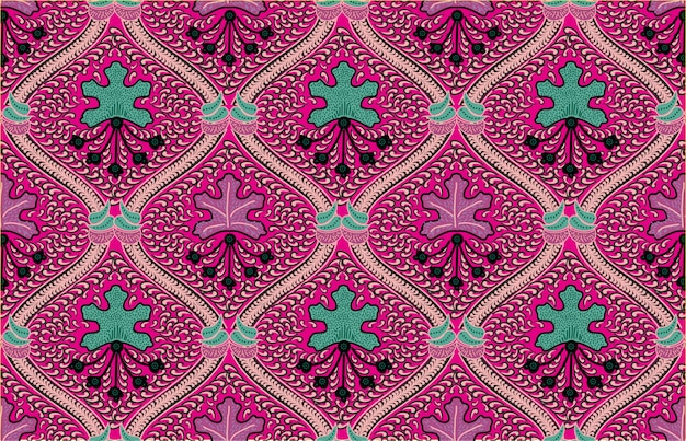 Beautiful indonesian batik with a dominant pink color