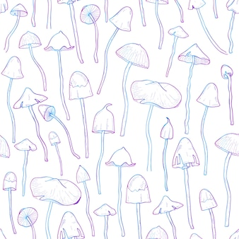 Beautiful inedible, hallucinogenic fungus seamless pattern. hand drawn psilocybe. colorful illustration on white background.