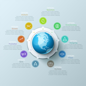 Beautiful infographic design layout with sphere in center, 8 arrows pointing at line symbols and text boxes