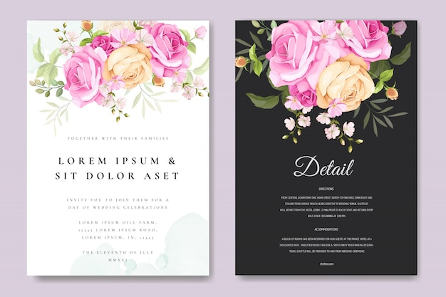 Beautiful invitation card with colourful floral and leaves template