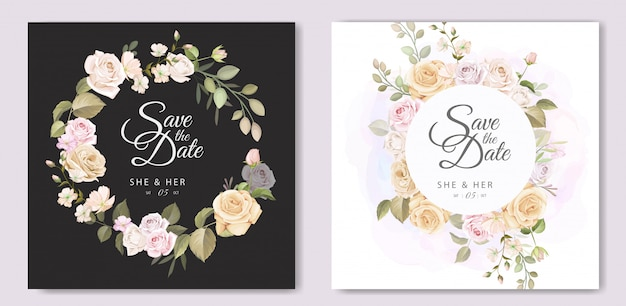 Beautiful invitation card with floral wreath template