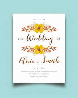 Beautiful invitation design background with floral vector
