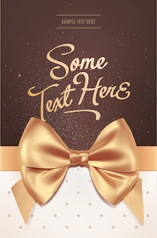 Beautiful invitation or greeting card with golden bow. valentine's day card. vector illustration