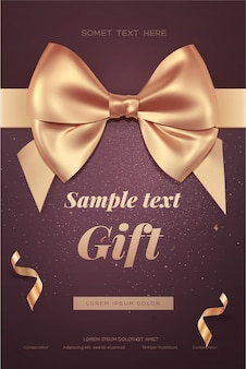 Beautiful invitation or greeting card with golden bow.