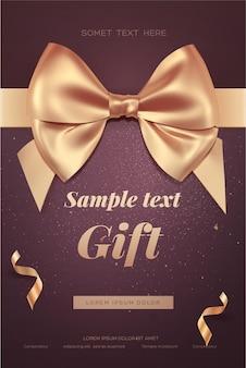 황금 활과 아름 다운 초대 또는 인사말 카드입니다.