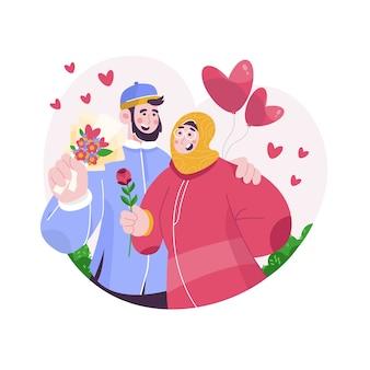 Bella coppia islamica illustrata