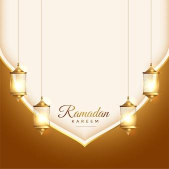Bella carta islamica di ramadan kareem con decorazione di lanterne