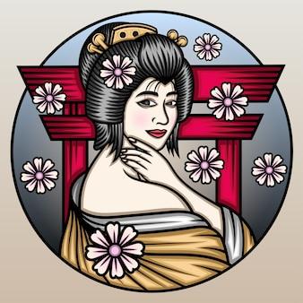 美しい日本の芸者。