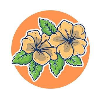 美しいジャスミンの花のイラスト。ジャスミンのロゴのコンセプト。ジャスミンブルームマスコットロゴ。フラットな漫画のスタイル。